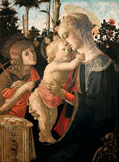 Sandro Botticelli(1444-1510) - Maria with that one of Jesuskind and that one of Johannes (ca. 1472) Paneel 91 x 67 cm - Het Louvre