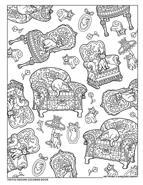 Creative Haven Textile Designs Coloring Book By Marjorie Sarnat Chairs