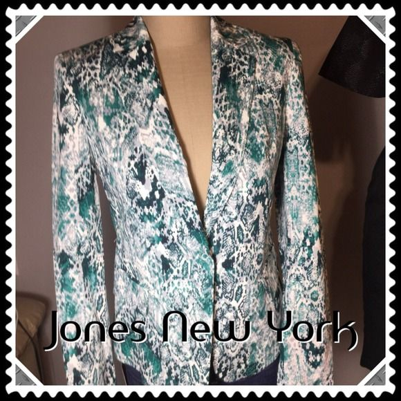 """SALE Jones NY Multi-Colored Blazer/Jacket -NWT Gorgeously stunning Jones New York blazer in colors of greens with white and grey. Measurements: 15.5"""" across back of shoulders, 17"""" across bust line, 22.5"""" in length and 24"""" sleeves. 2 faux pockets in either front side. Made of in 4th pic as well as washing description. Don't miss out on this stylish and unique piece! Jones New York Jackets & Coats Blazers"""