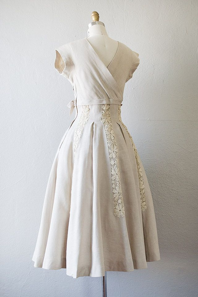 a00fb6c9309 vintage 1950s cream linen lace pleat dress  Linen Legacy Dress  -  168.00    ADORED