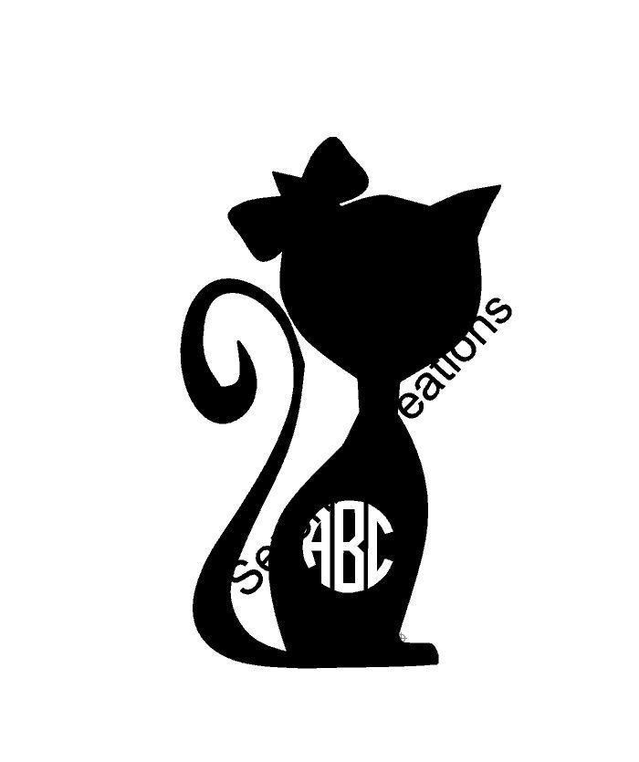 Ms Cat Monogram Vinyl Decal Die Cut Sticker Yeti Tumbler Car Cup - Vinyl decal cat pinterest