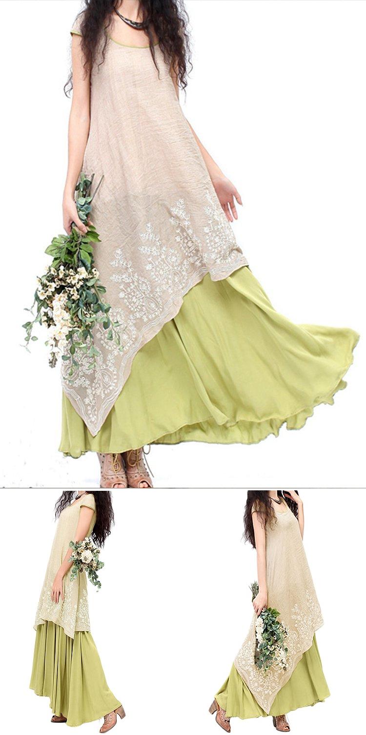 Yellow dress long sleeve   Vintage Embroidery Layered Irregular Hem Elegant Patchwork