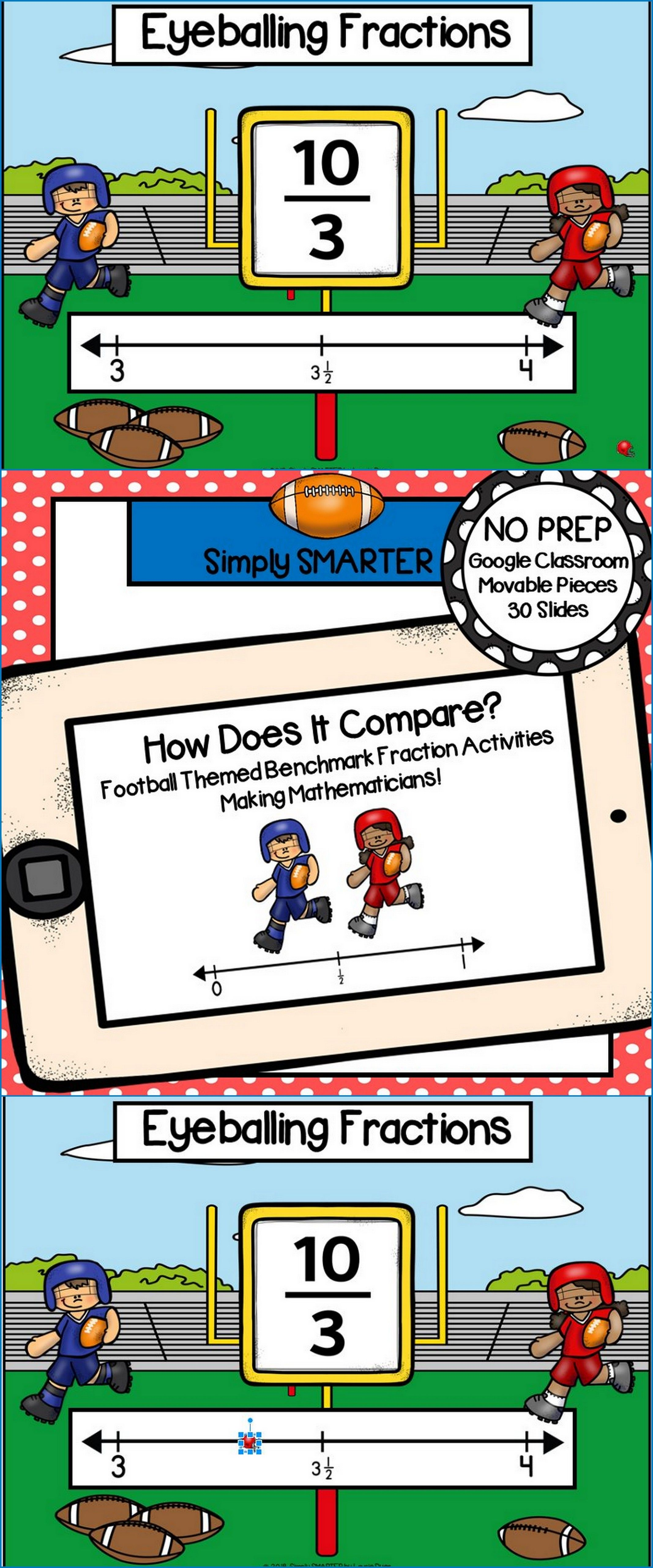 Football Themed Benchmark Fraction Activities For