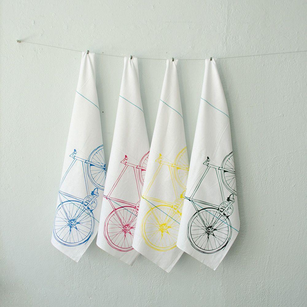 CMYK bicycle tea towel set - four hand printed cotton bike towels ...