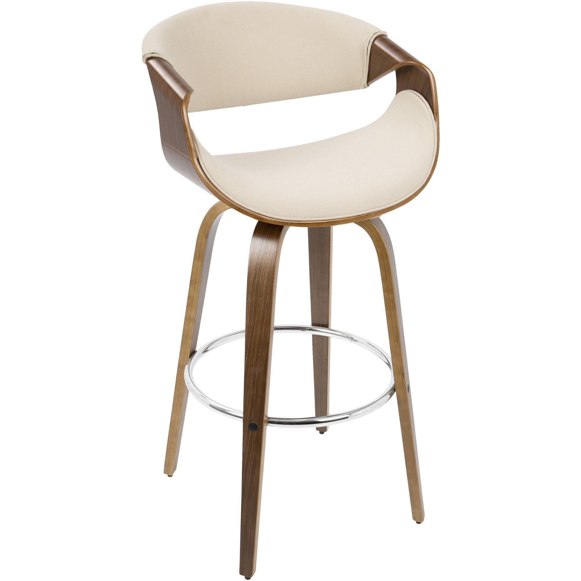 Curvini MidCentury Modern Barstool Walnut Wood u Cream Fabric