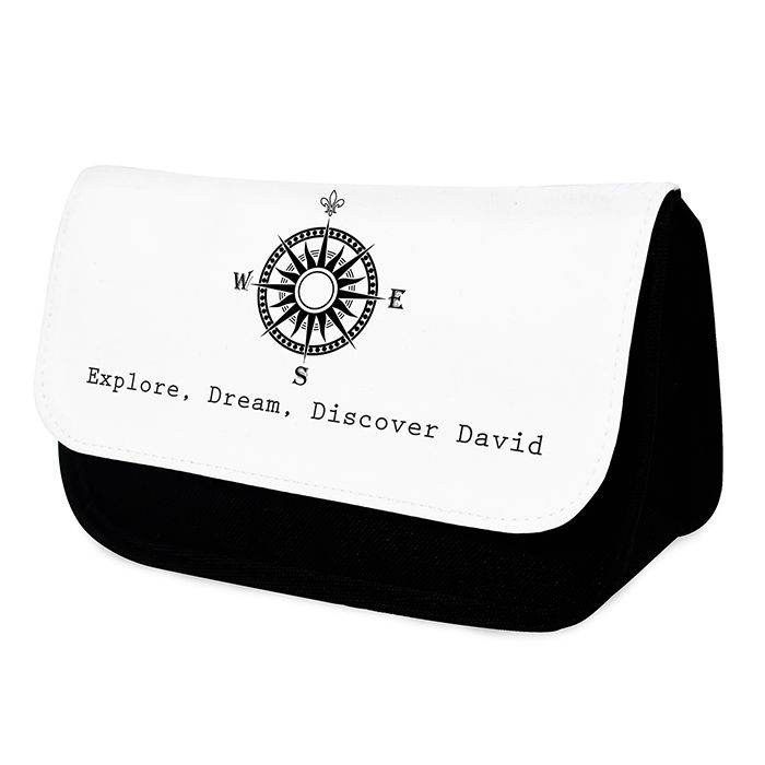 Personalised compass design wash bag  http://www.wedding-giftsonline.co.uk/compass--wash-bag-for-him-3980-p.asp