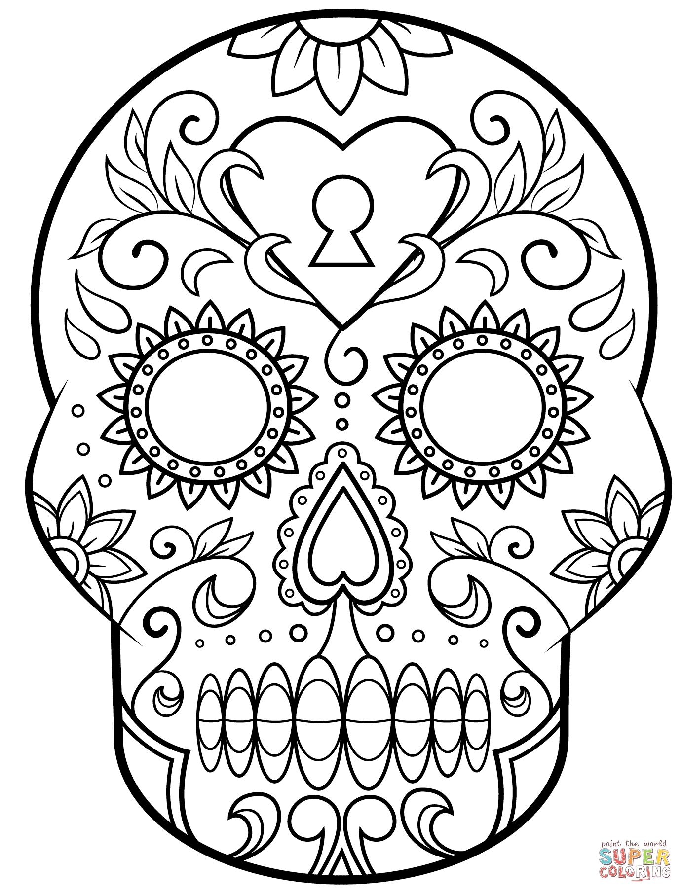 Day Of The Dead Sugar Skull Coloring Page Free Printable Coloring Pages Skull Coloring Pages Halloween Coloring Pages Halloween Coloring