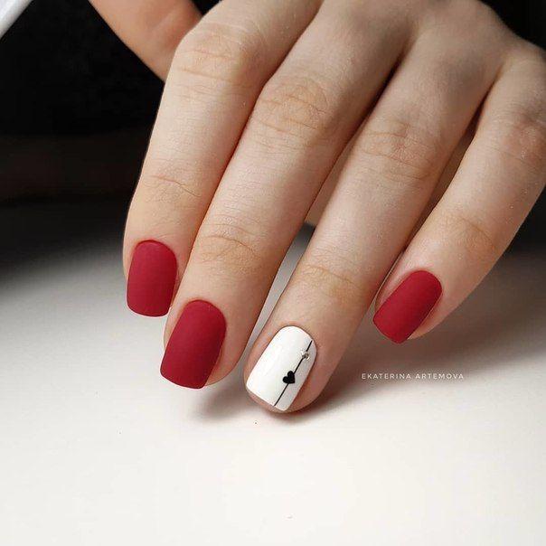 Uñas En Rojo Y Blanco Uñas Cortas Manicura De Uñas Y Uñas