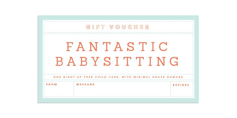 Gift Giving Made Easy Babysitting Coupon Template
