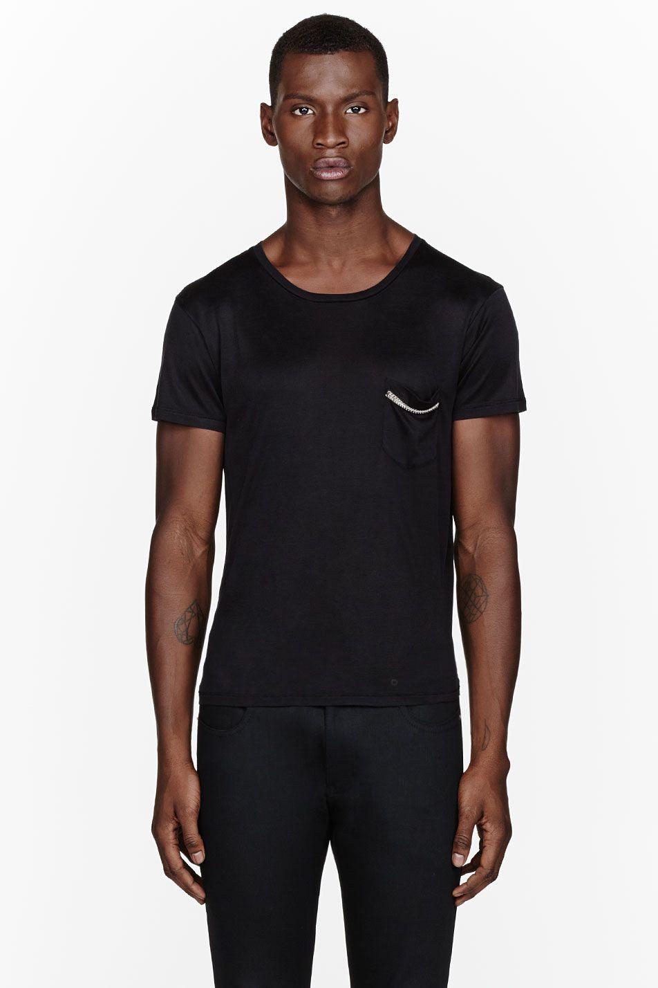 8523bdc0a0067a SAINT LAURENT Black Silk Chain-Trimmed Pocket T-Shirt | Men / Grooms ...