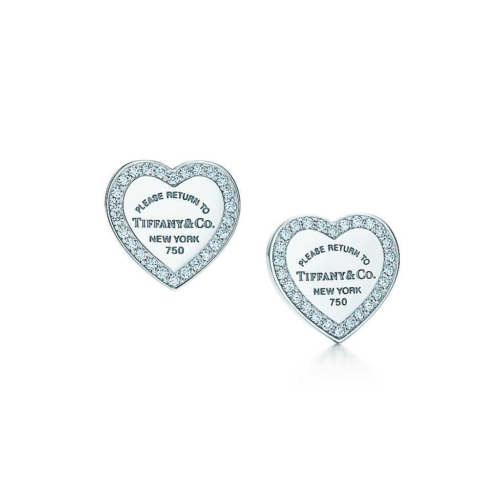 Mini Heart Tag Earrings Tiffany