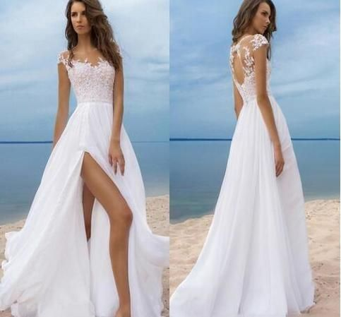 Photo of Beach Boho Wedding Dresses Short Sleeves Cheap Chiffon Bride Gowns High Side Slit Backless Wedding Gowns Sheer Neck