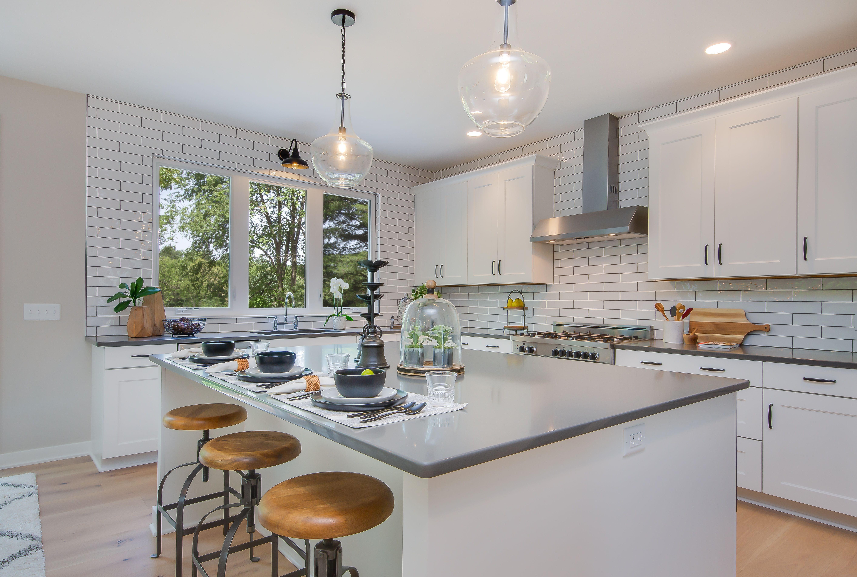 Kitchen quartz countertops, painted white oak
