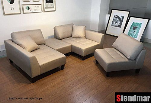 Terrific Stendmar New 4Pc Multifunctional Sectional Sofa In Taupe Machost Co Dining Chair Design Ideas Machostcouk