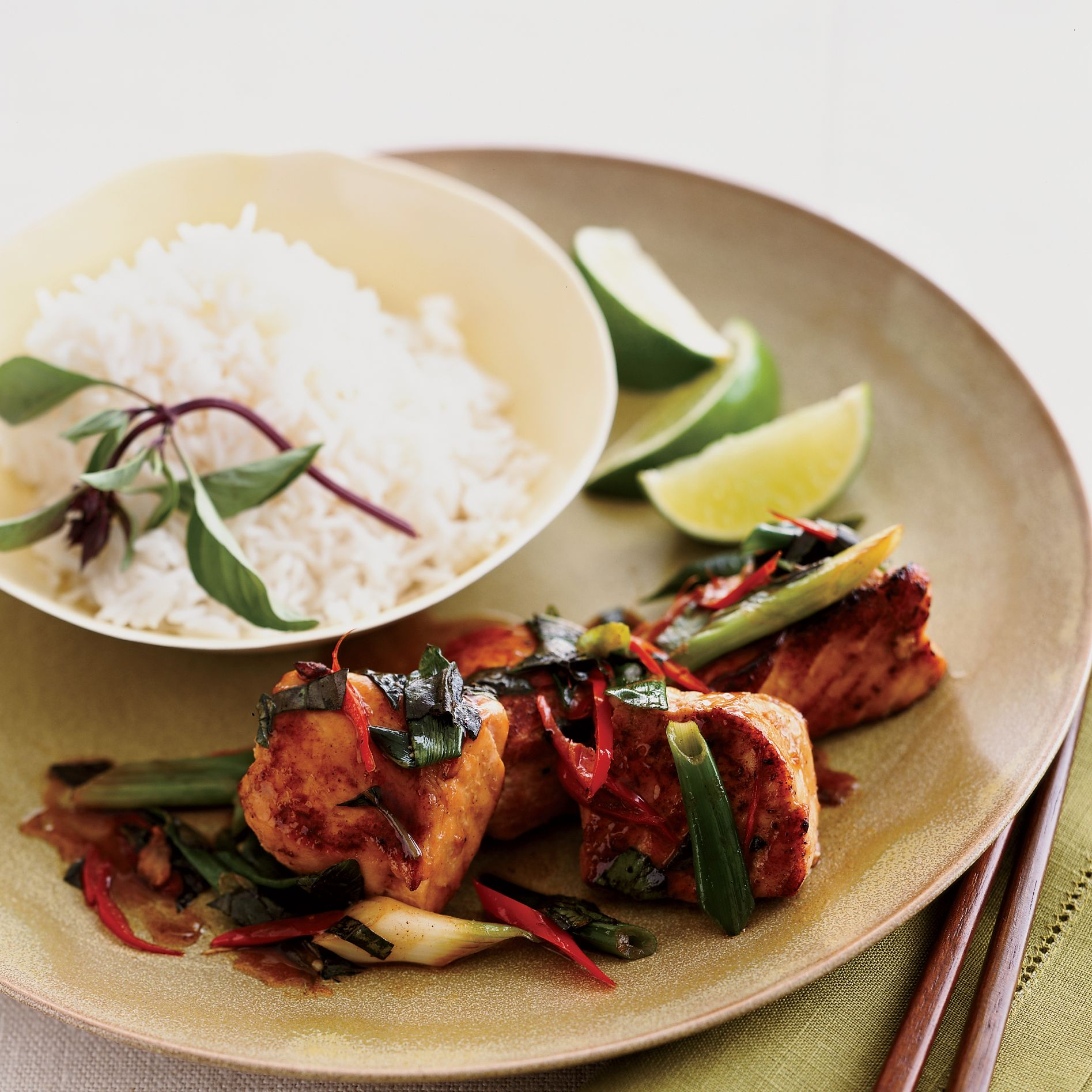 Pan-Glazed Salmon With Oyster Sauce And Basil
