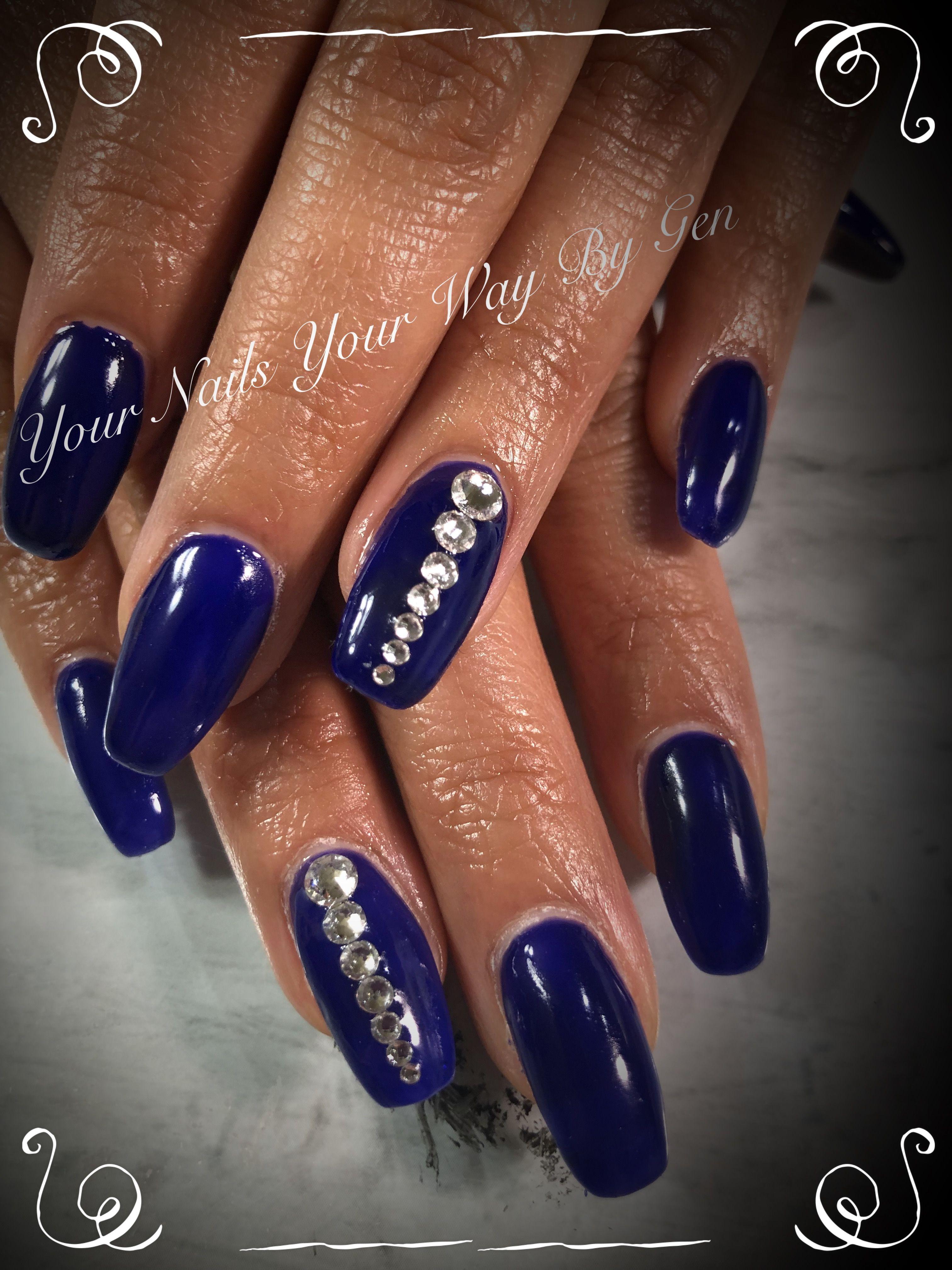 Acrylic Small coffin dark blue nails and diamonds