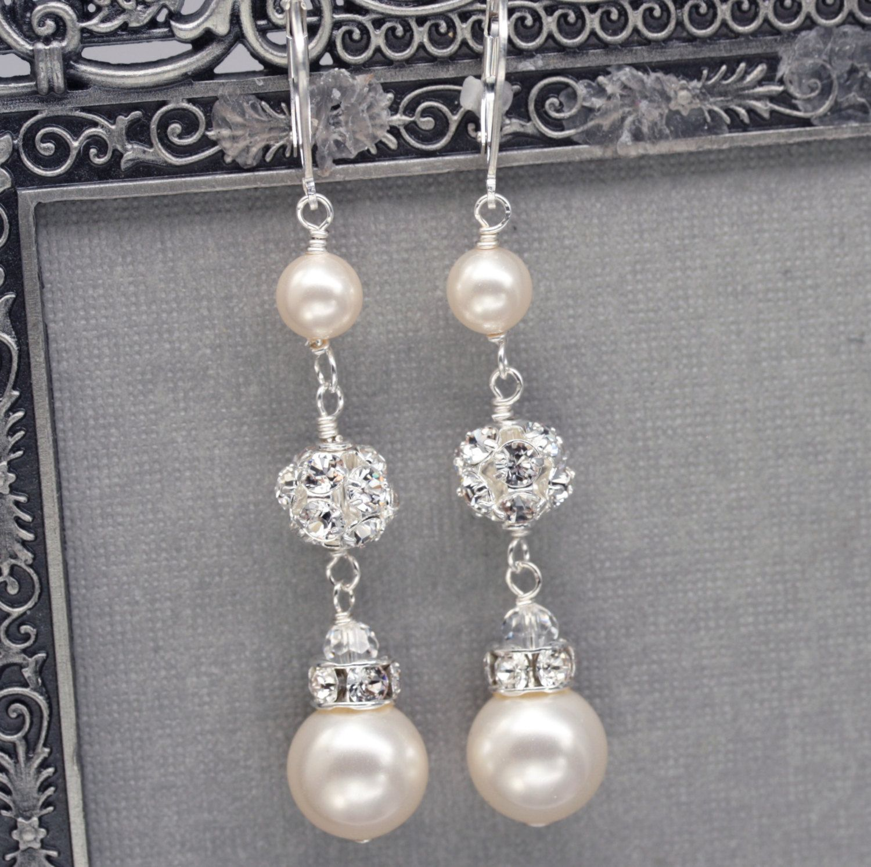 Long Pearl And Rhinestone Dangle Earrings, Bridal Wedding Jewelry, Ivory  Pearl Drop Earrings, Swarovski Pearl Jewelry