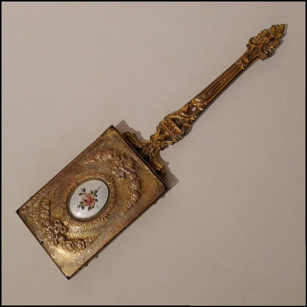 Gold Plated Antique French Guilloche Enamel Hand Mirror