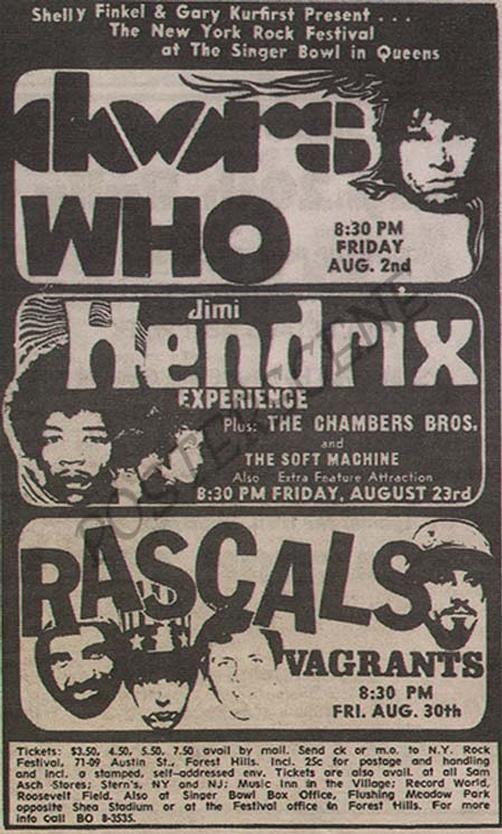 Original newspaper concert ad for Jimi Hendrix, The Doors ...