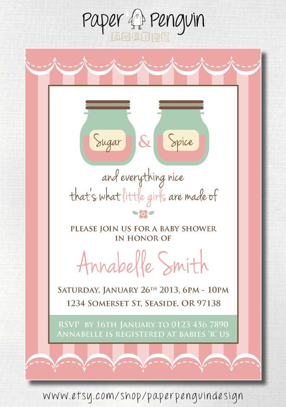 Possible Evite wording....Sugar and Spice baby shower invitation https://www.etsy.com/listing/117432467/personalized-sugar-and-spice-baby-girl