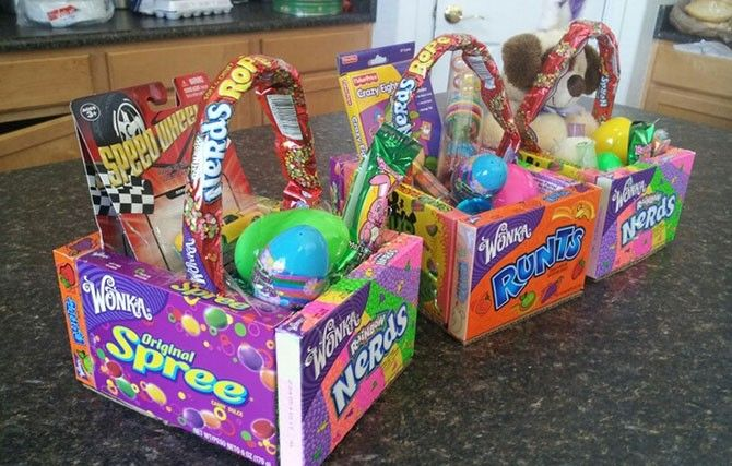 Edible Easter Baskets Glue Four Large Boxes Of Candy Together Hot Glue A Piece Of Cardboard For The Bottom Of The Basket Fill With A Little Plastic