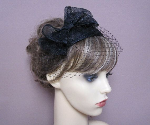 black sinamay teardrop fascinator hat with bow   by LisLarsonHats ... 52ae4e1655d