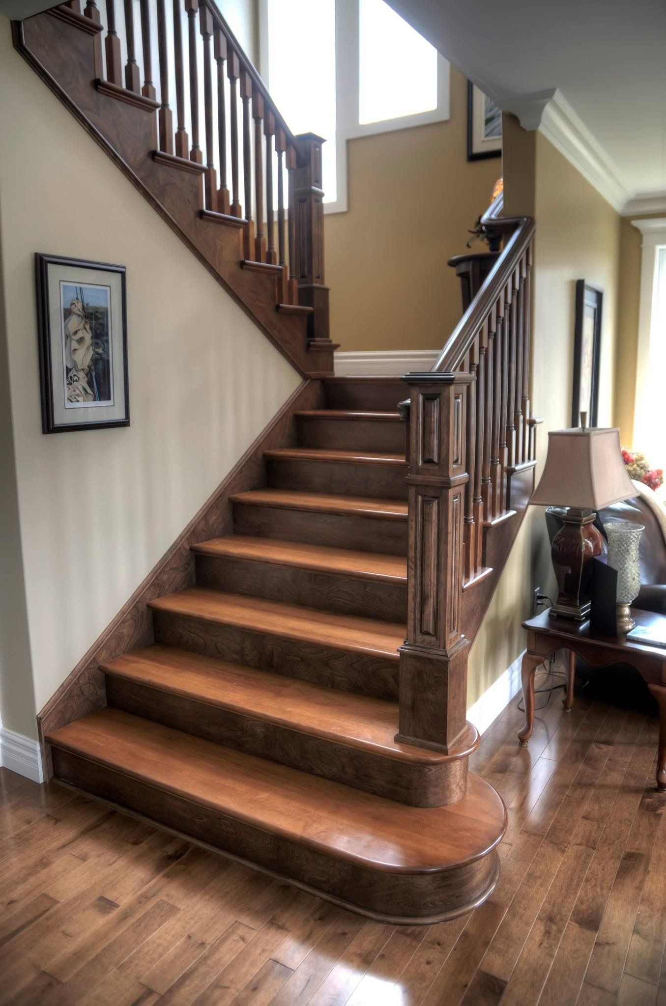 Two Tone Hardwood Floor Ideas Two Tone Staircase With Custom Posts Railing Stairs