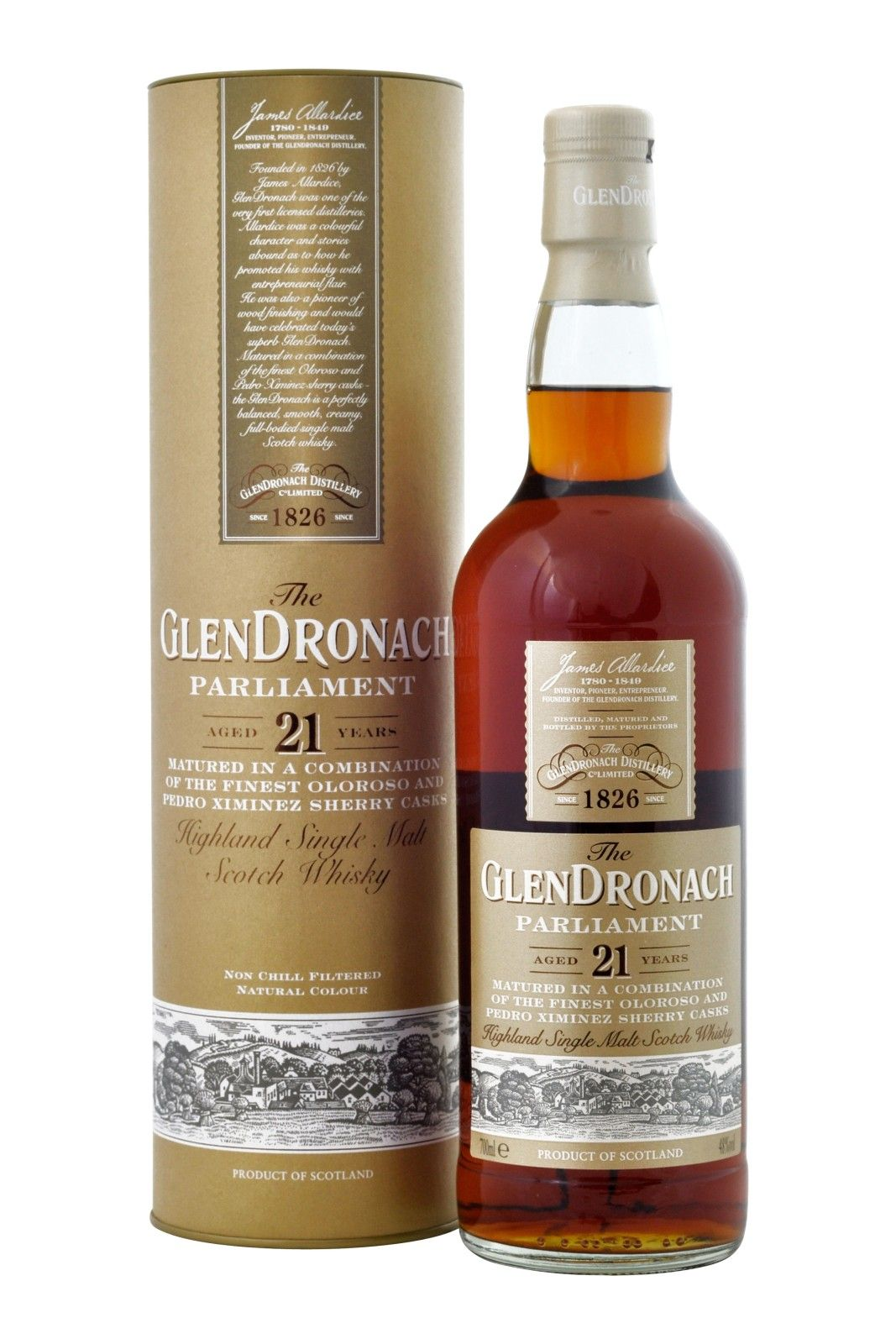 Glendronach Parliament 21 Year Old Whisky 21 Years Old Wine Bottle
