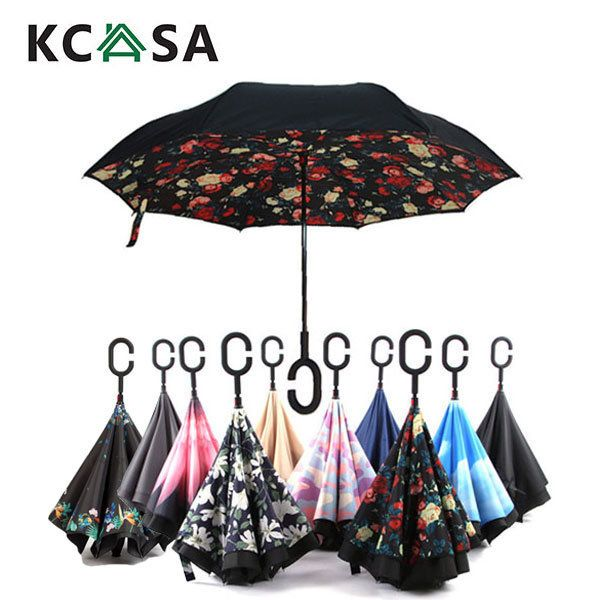 KCASA UB-2 Creative Reverse Double Layer Foldable Umbrella Rich Patterns Damp Proof wind Resistant Standing