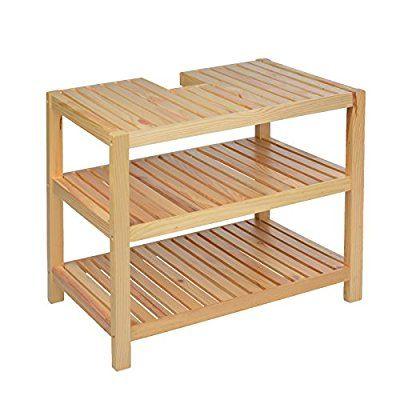 Waschtischunterschrank Holz Braun 40 X 65 55 Cm Aussparung Für Siphon Drei Ablagefächer