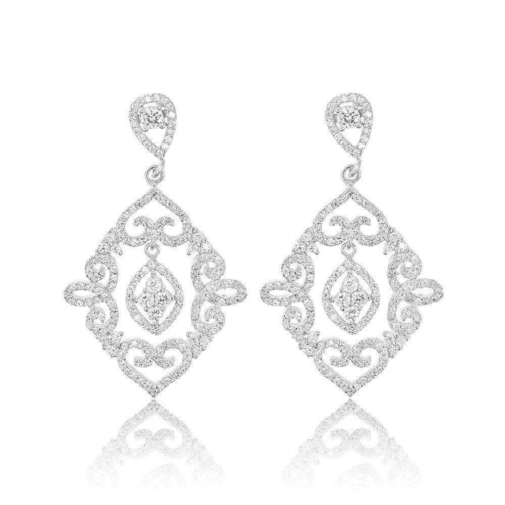 Cercei argint Surub Drop Earrings Zirconii Cod TRSE114