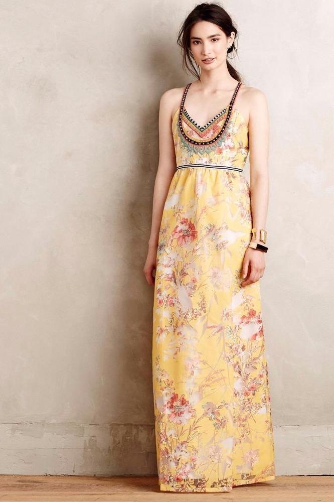 05c025da060e6 NEW ANTHROPOLOGIE $298 Varennes Maxi Dress by Vineet Bahl Size 10 Yellow  NWT #Anthropologie #Maxi #SummerBeach
