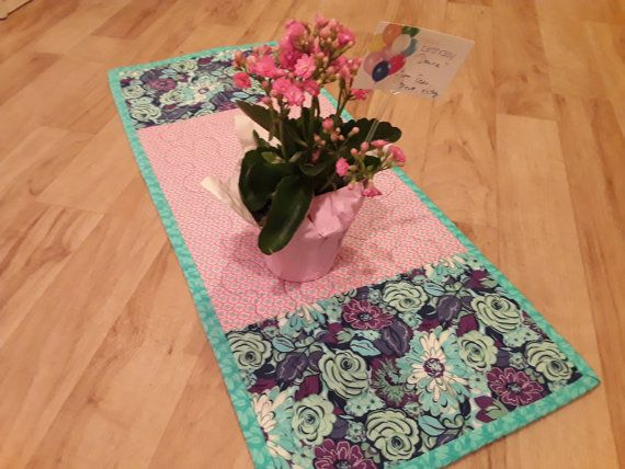 Table Runner Purple And Pink Table Runner by DesertSkyQuilts