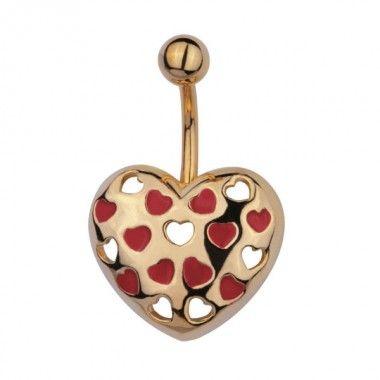 Banana con colgante en forma de corazón dorado con mini corazones en esmalte rojo