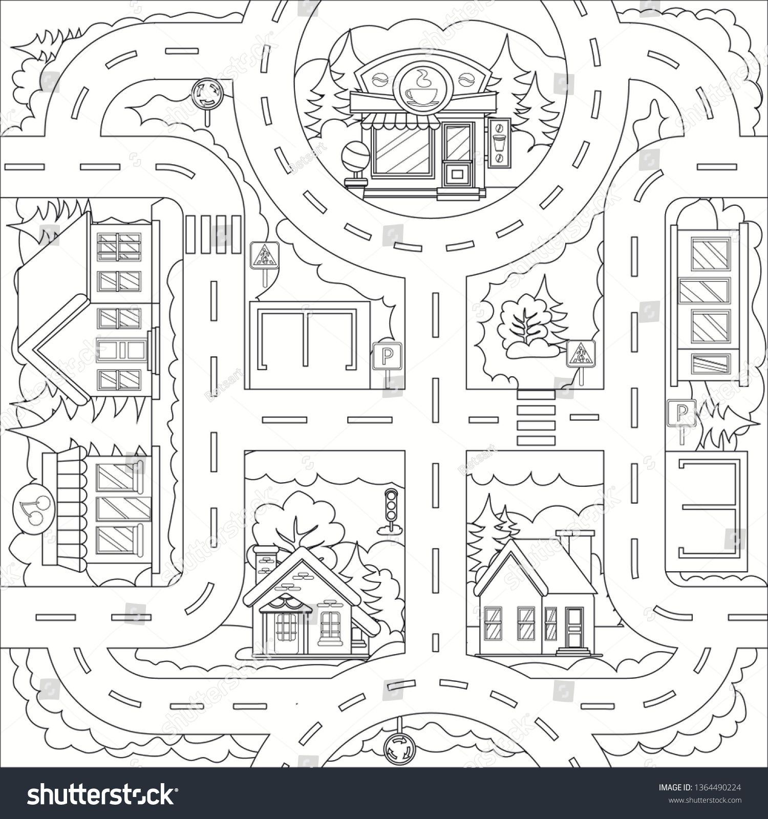 Coloring Page With Drawing City Road And Building Kids
