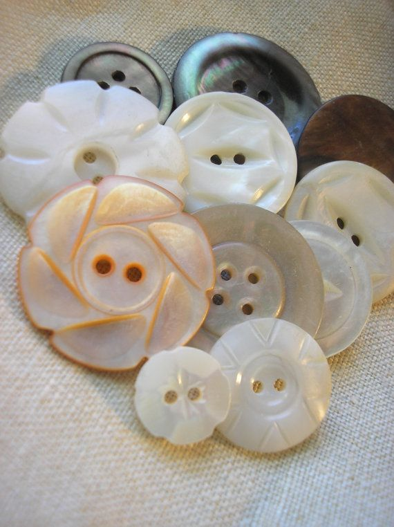 Vintage carved Mother Of Pearl Button Collection