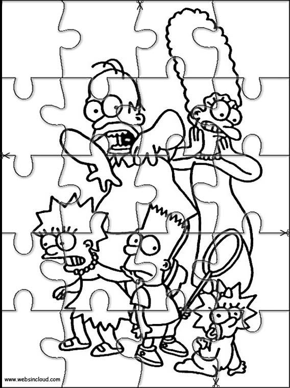 Printable jigsaw puzzles to cut out for kids The Simpsons 13 Coloring Pages