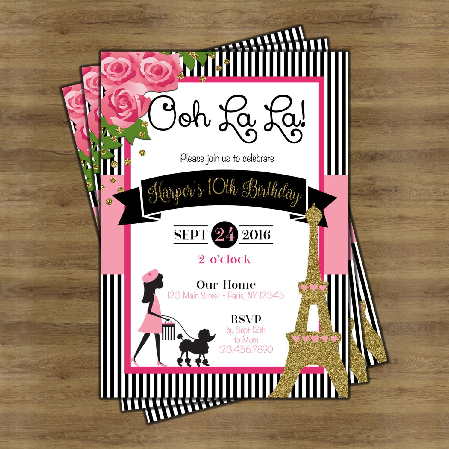 Paris Invitation Theme Party Themed Invitations Birthday Eiffel Tower