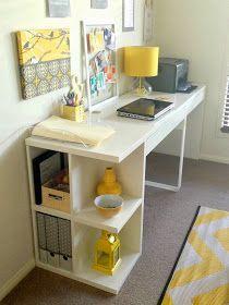 Studio Astratta: My Yellow Grey Workspace Makeover! Micke Desk From Ikea.  Use Yellow