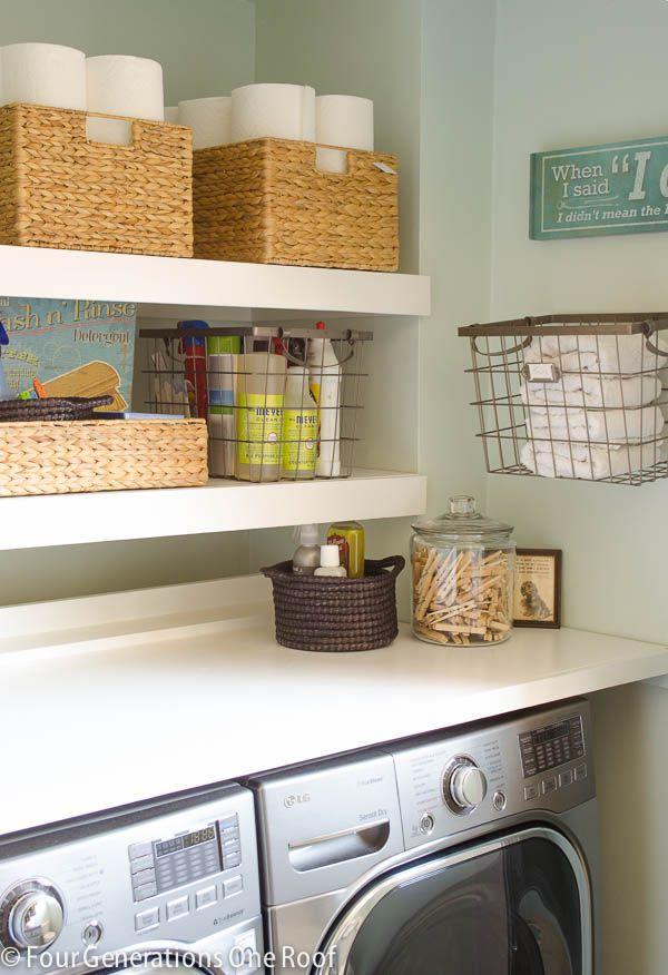 diy floating shelves 20 laundry room organization ideas via a blissful nest