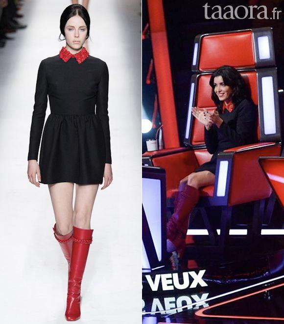 Robe noir col rouge jenifer the voice