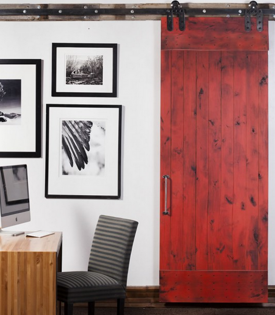 Beautiful Red Rustic Interior Barn Door Nearby Wall Black Framed Pictures Closed To  Wooden Office