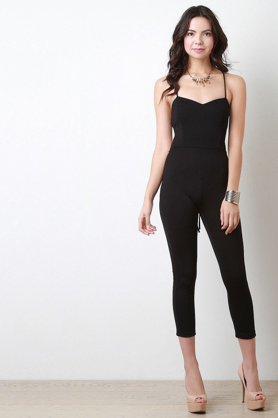 Strappy Lace Up Open Back Jumpsuit