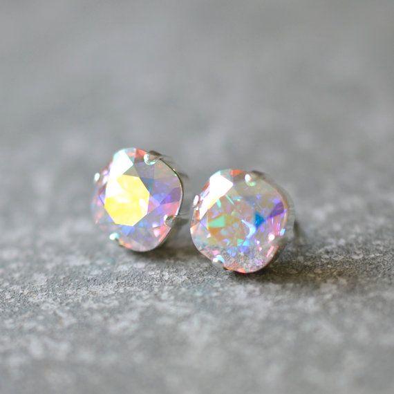 Aurora Borealis Stud Earrings Swarovski Crystal Light