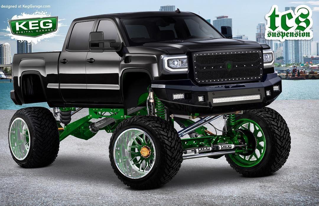 This Sierra Rendering We Did For Chrisfasig Is Killin It Tcs Suspension Specialtyforgedwheels Fueloffroad Automotive Design Jacked Up Trucks Lifted Trucks