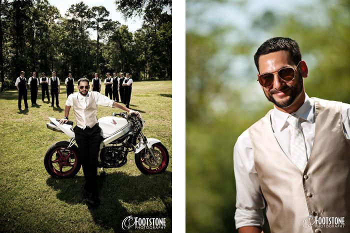 groom and groomsmen with motorcycle