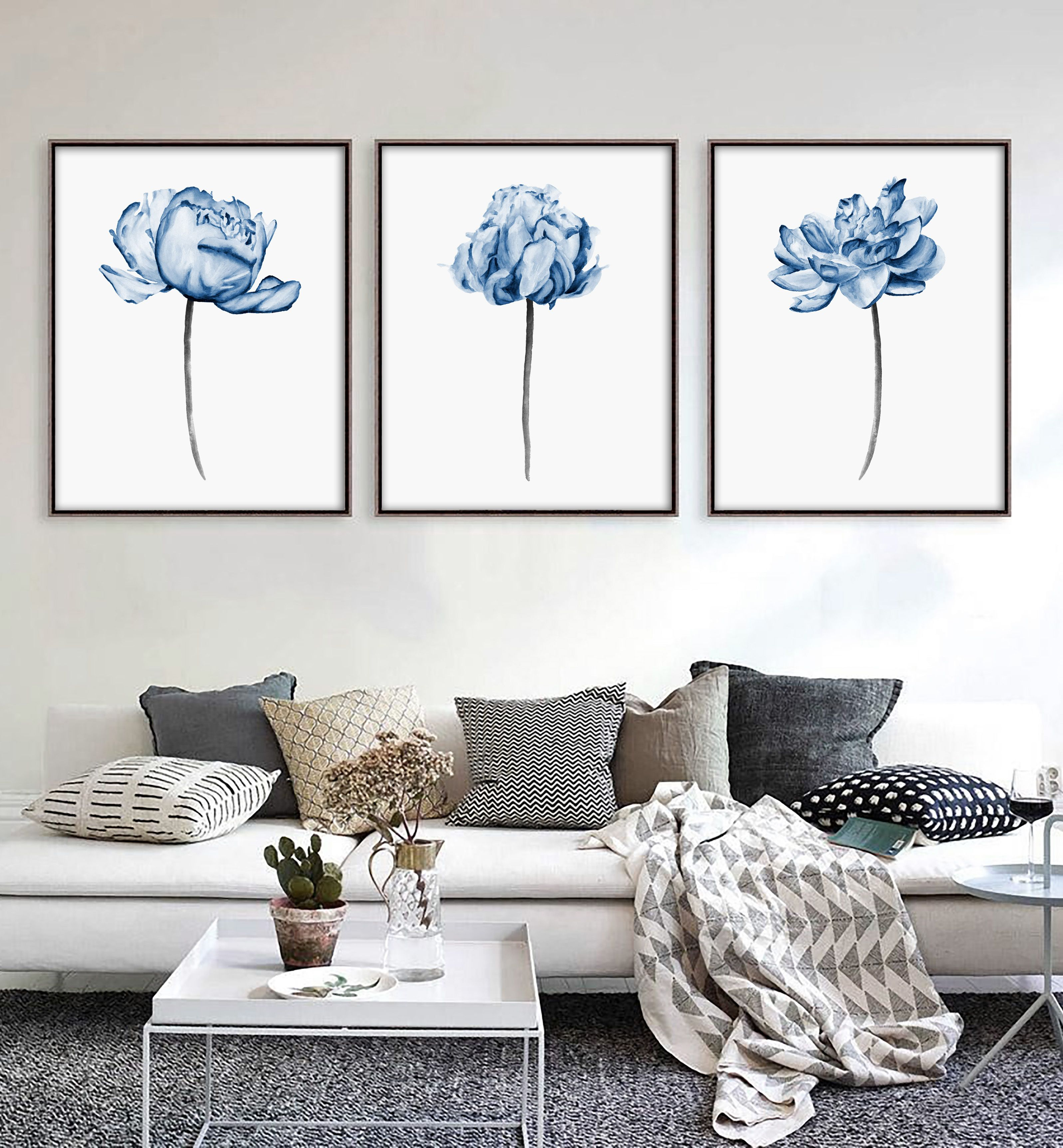 Printable Wall Art Set Of 3 Blue Peony Flowers Watercolor Painting Large Wall Art Prints Wall Art Wall Decor Bedroom Wall Decor Living Room Navy Blue Wall Art