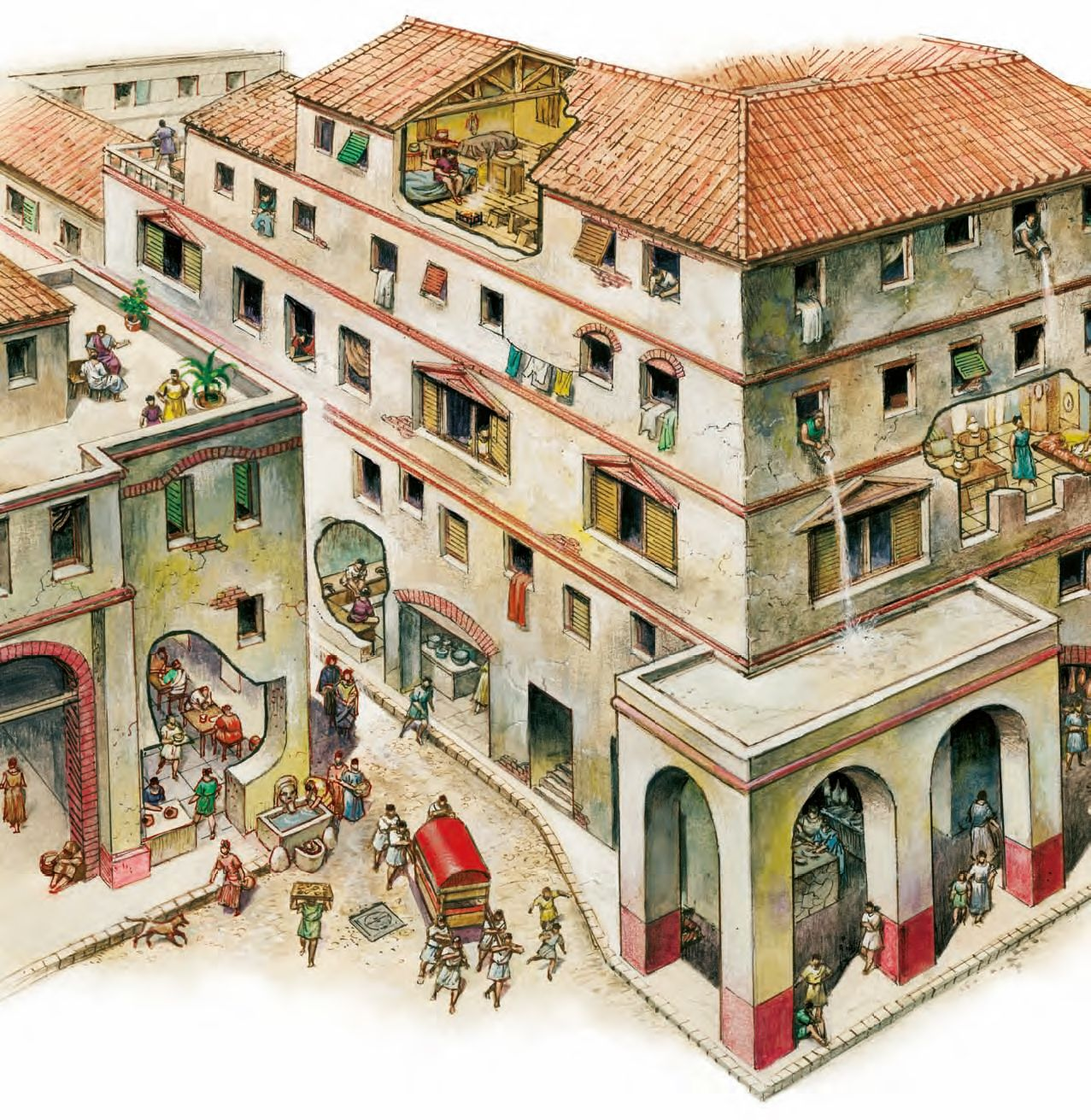 In Ancient Greek And Roman Cities Whole Blocks Of Housing Were Built Up To Five Or Six Stories High Businesses Fronted The Streets Behind Which