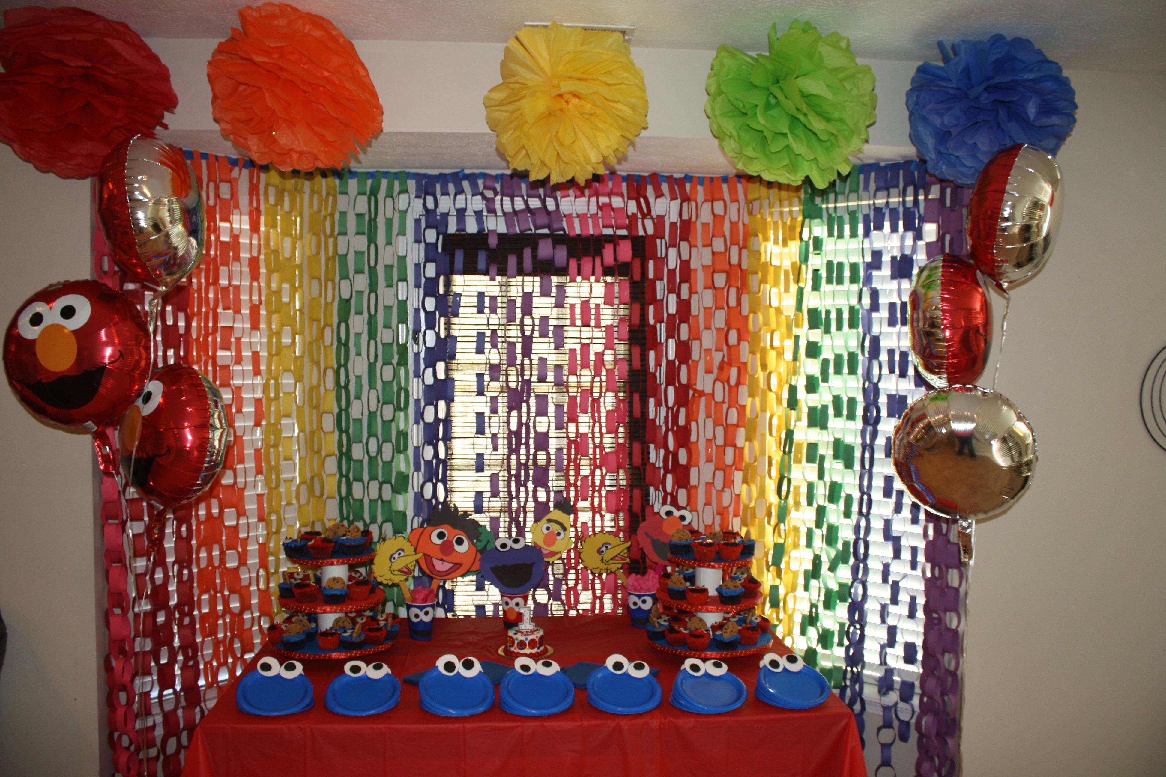 Home Made Decorations For An Elmo Sesame Street Themed Birthday Party Inspired By Other Ideas