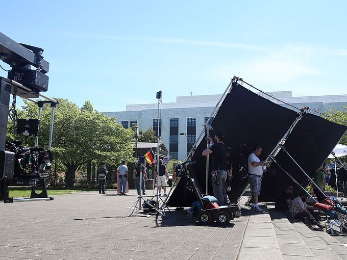 Turner Network Television producers use the Capitol mall area to film scenes from a new series called The Librarians Wednesday, April 30, 20...
